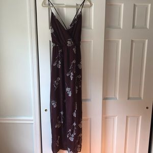 Elegant floral maroon dress